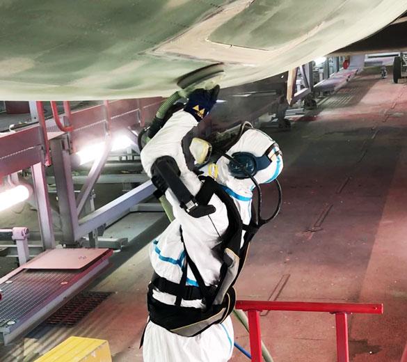 Exosquelette de manutention ponçage aéronautique